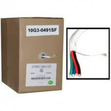 Speaker Cable, White, Pure Copper, CM / Inwall rated, 14/4 (14 AWG 4 Conductor), 105 Strand / 0.16mm, Pullbox, 500 foot