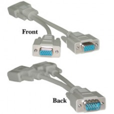 VGA Y Cable, Low Resolution, HD15 Male to 2 x HD15 Female, 8 inch