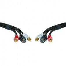 S-Video and RCA Stereo Audio Cable, MiniDin4 Male and 2 RCA Male, 12 foot
