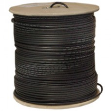 Bulk RG58/U Coaxial Cable, Black, 20 AWG, Solid Core, Braided Shield, Spool, 1000 foot
