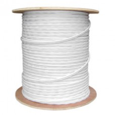 Bulk RG59 Siamese Coaxial/Power Cable, White, Solid Core (Copper) Coax, 18/2 (18 AWG 2 Conductor) Stranded Copper Power, Spool, 1000 foot