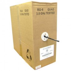 Quad Shielded Bulk RG6 Coaxial Cable, Black, 18 AWG, Solid Core, Pullbox, 1000 foot