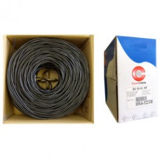 Bulk RG6U Coaxial Cable, Black, 18 AWG Solid Copper Core, Copper Braid with 95% coverage,  Pullbox, 1000 foot