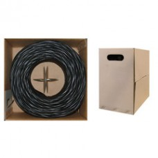 Bulk Cat6 Black Ethernet Cable, Solid, UTP (Unshielded Twisted Pair), Pullbox, 1000 foot