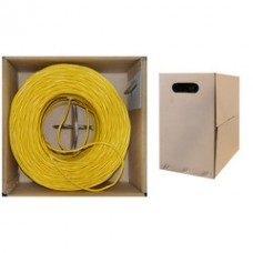 Bulk Shielded Cat 5e Yellow Ethernet Cable, STP (Shielded Twisted Pair), Solid, Pullbox, 1000 foot