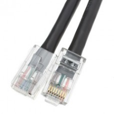 Cat5e Black Ethernet Patch Cable, Bootless, 1 foot