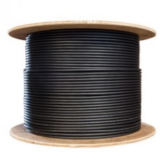 Bulk Shielded Cat5e Black Ethernet Cable, Solid, Spool, 1000 foot