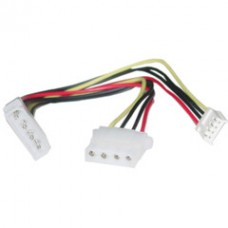 4 Pin Molex to Floppy and 4 Pin Molex Power Y Cable, 5.25 inch Male to 5.25 inch Female and 3.5 inch Female, 8 inch