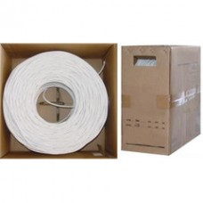 Bulk RG6 Coaxial Cable, White, 18 AWG, Solid Core, Pullbox, 1000 foot