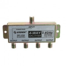 F-Pin Coaxial Splitter, 4 Way, 2 GHz 90 dB, DC Passing on One Port