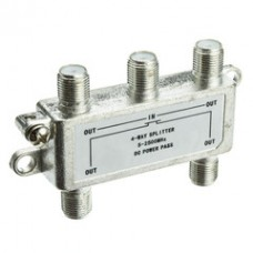 F-pin Coaxial Splitter, 4 way, 2 GHz 90 dB, DC Passing on All Ports