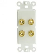 Decora Wall Plate Insert, White, 4 Banana Plug Binding Posts For 2 Speakers