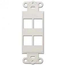 Decora Wall Plate Insert, White, 4 Keystone Jack