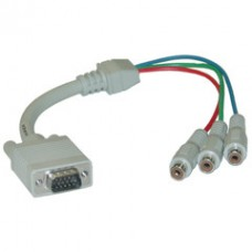 VGA to Component Video Adapter, HD15 Male to 3 x RCA Female (RGB), 1 foot * Not For Computer Use
