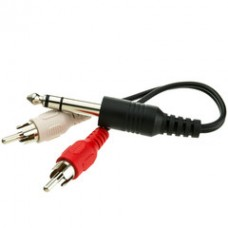 1/4 inch Stereo to Dual RCA Adapter, 1/4 Stereo Male to Dual RCA Male, 6 inch