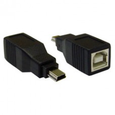 USB B Female to USB Mini-B 5 Pin Male Adapter
