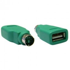 USB to PS/2 Keyboard/Mouse Adapter, Green, USB Type A Female to PS/2 (MiniDin6) Male