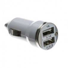 2 Port USB Car Charger, White, 3.1 Amp Output