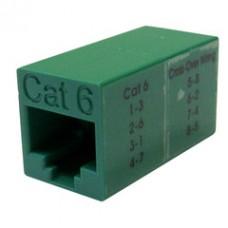 Cat6 Crossover Coupler, Green, RJ45 Female, Unshielded