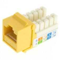 Cat5e Keystone Jack, Yellow, RJ45 Female to 110 Punch Down