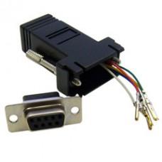 Modular Adapter, Black, DB9 Female to RJ12 Jack