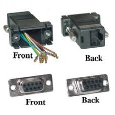Modular Adapter, Black, DB9 Female to RJ45 Jack