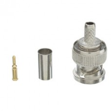 RG58 Solid Core BNC Male Crimp Connector, 3 Piece Set