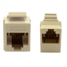 Cat6 Keystone Inline Coupler, White, RJ45 Female