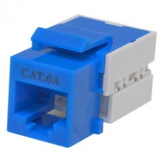 Cat6a Keystone Jack, Blue, RJ45 Female to 110 Punch Down