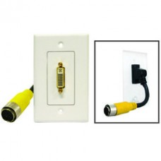 EZ Pull Audio/Video Wall Plate, Yellow Male to DVI-D Female