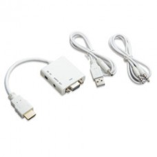 Convert HDMI male  to VGA Femail Adapter with Stereo Audio Support, Up to 1080P 1920 x 1080, Powered by USB Port