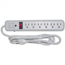 Surge Protector, 6 Outlet, Gray, Vertical Outlets, 3 MOV, 540 Joules, EMI / RFI, Power Cord 6 foot