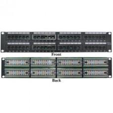 Rackmount 48 Port Cat5e Patch Panel, Horizontal, 110 Type, 568A & 568B Compatible, 2U