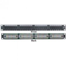 Rackmount 24 Port Cat6 Patch Panel, Horizontal, 110 Type, 568A & 568B Compatible, 1U