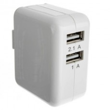 2 Port USB Wall Travel Charger, White, 3.1 Amps for Powering Smart Phones, Tablets, and Other USB Powered devices